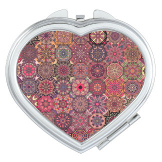 Vintage patchwork with floral mandala elements compact mirrors