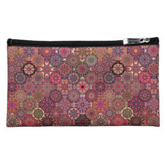 Vintage patchwork with floral mandala elements cosmetic bags