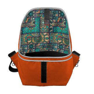 Vintage patchwork with floral mandala elements courier bag