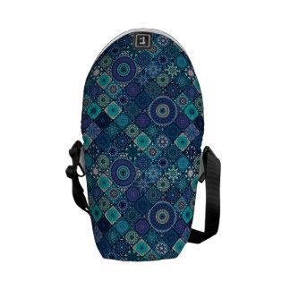 Vintage patchwork with floral mandala elements courier bags