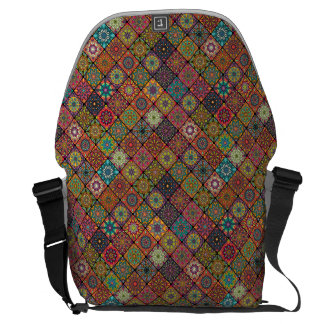 Vintage patchwork with floral mandala elements courier bags