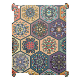 Vintage patchwork with floral mandala elements cover for the iPad 2 3 4