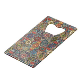 Vintage patchwork with floral mandala elements credit card bottle opener