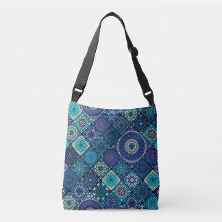 Vintage patchwork with floral mandala elements crossbody bag