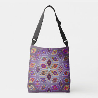 Vintage patchwork with floral mandala elements crossbody bag
