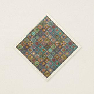 Vintage patchwork with floral mandala elements disposable napkin