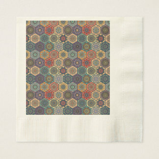 Vintage patchwork with floral mandala elements disposable napkins