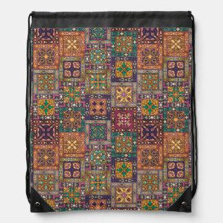 Vintage patchwork with floral mandala elements drawstring bag