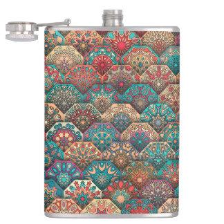 Vintage patchwork with floral mandala elements flasks