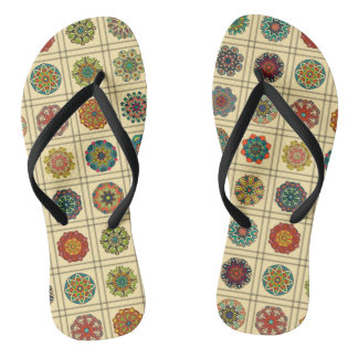 Vintage patchwork with floral mandala elements flip flops