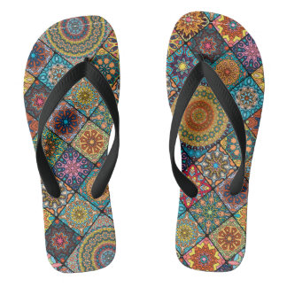 Vintage patchwork with floral mandala elements flip flops