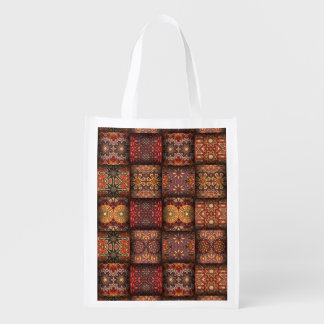 Vintage patchwork with floral mandala elements grocery bag
