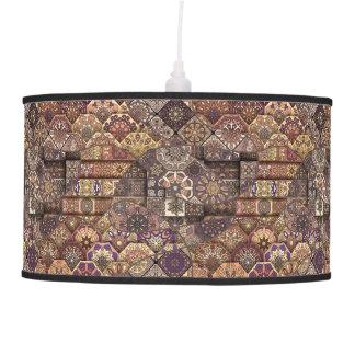 Vintage patchwork with floral mandala elements hanging pendant lamps