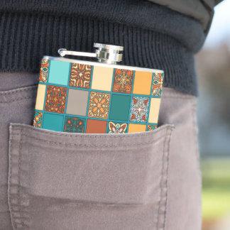 Vintage patchwork with floral mandala elements hip flask