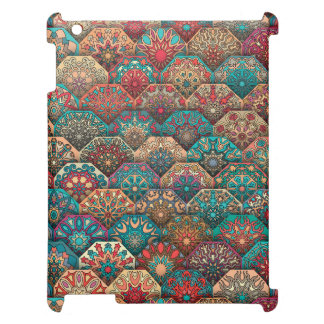 Vintage patchwork with floral mandala elements iPad covers