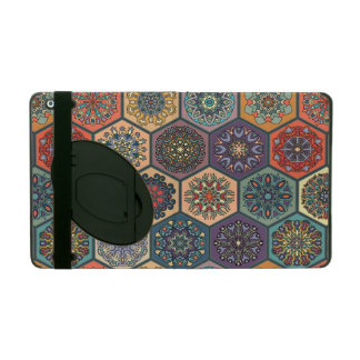 Vintage patchwork with floral mandala elements iPad folio case