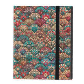 Vintage patchwork with floral mandala elements iPad folio case