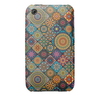 Vintage patchwork with floral mandala elements iPhone 3 cases