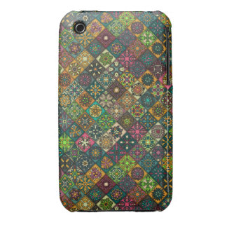 Vintage patchwork with floral mandala elements iPhone 3 cover
