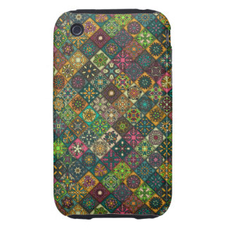 Vintage patchwork with floral mandala elements iPhone 3 tough cover