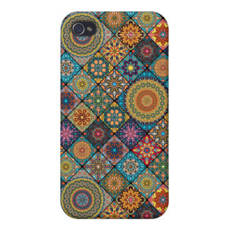Vintage patchwork with floral mandala elements iPhone 4/4S cases