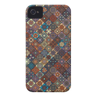 Vintage patchwork with floral mandala elements iPhone 4 cases