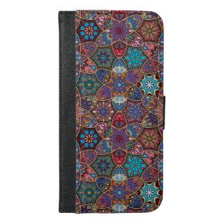 Vintage patchwork with floral mandala elements iPhone 6/6s plus wallet case