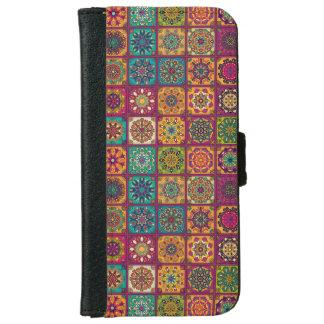 Vintage patchwork with floral mandala elements iPhone 6 wallet case