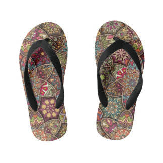 Vintage patchwork with floral mandala elements kid's flip flops