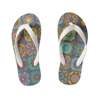 Vintage patchwork with floral mandala elements kid's flip flops