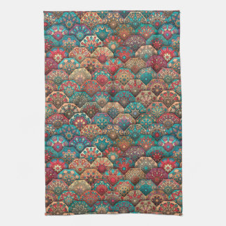 Vintage patchwork with floral mandala elements kitchen towel