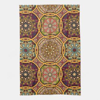 Vintage patchwork with floral mandala elements kitchen towel