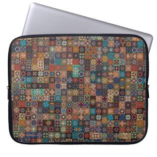 Vintage patchwork with floral mandala elements laptop computer sleeves