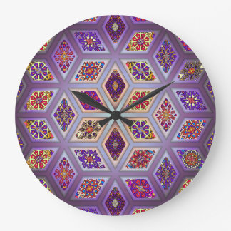 Vintage patchwork with floral mandala elements large clock