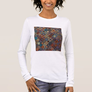 Vintage patchwork with floral mandala elements long sleeve T-Shirt