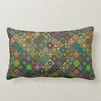 Vintage patchwork with floral mandala elements lumbar pillow