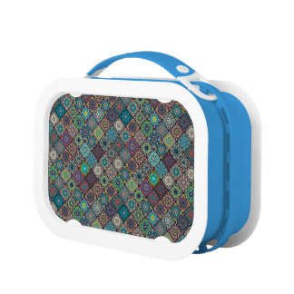Vintage patchwork with floral mandala elements lunchboxes