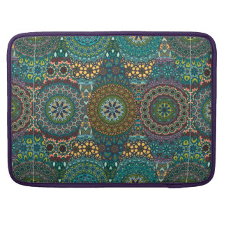 Vintage patchwork with floral mandala elements MacBook pro sleeves