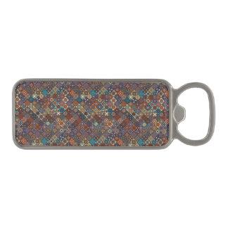 Vintage patchwork with floral mandala elements magnetic bottle opener