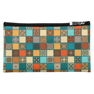 Vintage patchwork with floral mandala elements makeup bag