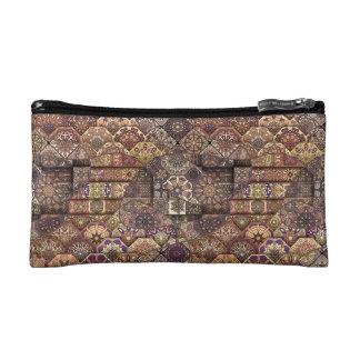 Vintage patchwork with floral mandala elements makeup bags