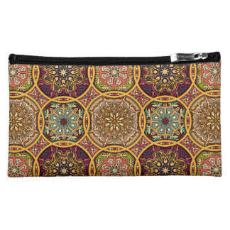 Vintage patchwork with floral mandala elements makeup bags