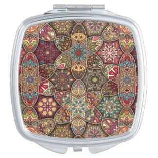 Vintage patchwork with floral mandala elements makeup mirror