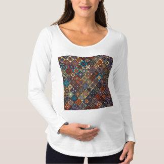Vintage patchwork with floral mandala elements maternity T-Shirt