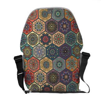 Vintage patchwork with floral mandala elements messenger bags