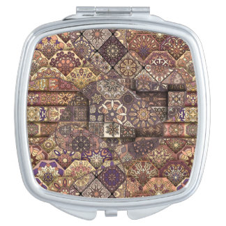 Vintage patchwork with floral mandala elements mirror for makeup