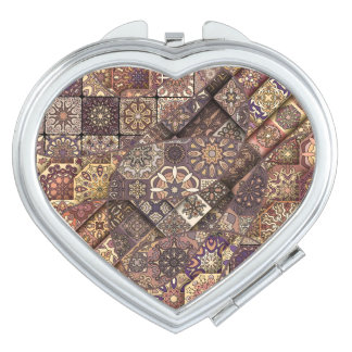 Vintage patchwork with floral mandala elements mirrors for makeup