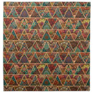Vintage patchwork with floral mandala elements napkin