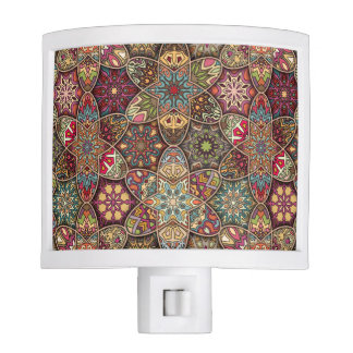 Vintage patchwork with floral mandala elements night lite