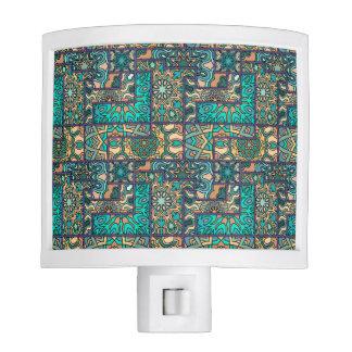 Vintage patchwork with floral mandala elements nite light